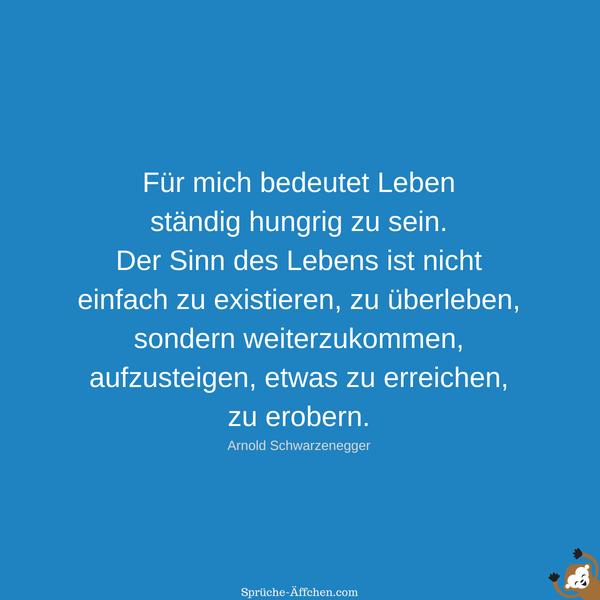 Für mich bedeutet Leben ständig hungrig zu sein. Der Sinn des Lebens ist nicht einfach zu existieren, zu überleben, sondern weiterzukommen, aufzusteigen, etwas zu erreichen, zu erobern. -Arnold Schwarzenegger