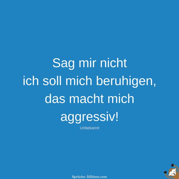 Status Sprüche - Sag mir nicht ich soll mich beruhigen, das macht mich aggressiv! -Unbekannt