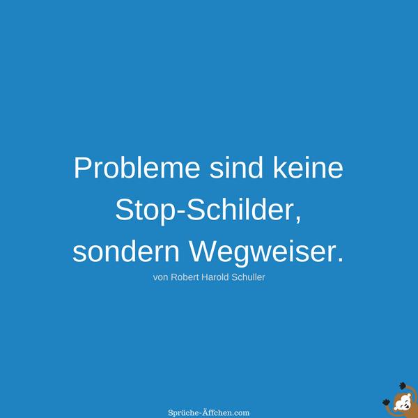Weise Sprüche - Probleme sind keine Stop-Schilder, sondern Wegweiser. -Robert Harold Schuller